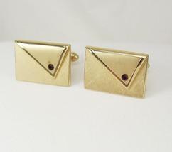 Vintage Envelope Garnet Cufflinks Brushed Goldtone Clutch Purse Wedding ... - $60.00