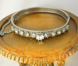 Rhinestone Hinged Cuff Bracelet Safety Chain Holidays Birthday Anniversary - $35.00