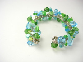 Vintage Bahama Blue Bracelet Green Chunky Bauble Cuff Style Birthday Mot... - $35.00