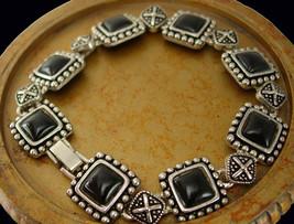 Black Etruscan Gothic Bracelet Vintage Fancy Bead Design Holiday Birthda... - $45.00