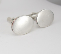 Vintage Silvertone Oval Black Cufflinks Brushed Birthday Wedding Business Signed - $20.00