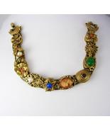 Vintage Goldette NY Slide Bracelet Cameo Moons Scarbs  7 Inces Long Birt... - $165.00