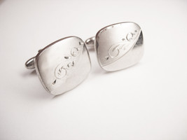 Fancy Vintage Wedding Cufflinks Etched Wedding Business Signed Speidel - $25.00