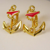 Nautical Boat Anchor Earrings Vintage Clip On's Ship Sailing Yacht Club ... - $35.00