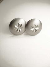 Vintage Etched Star Cufflinks Dome Brushed Wedding Businessman - $15.00