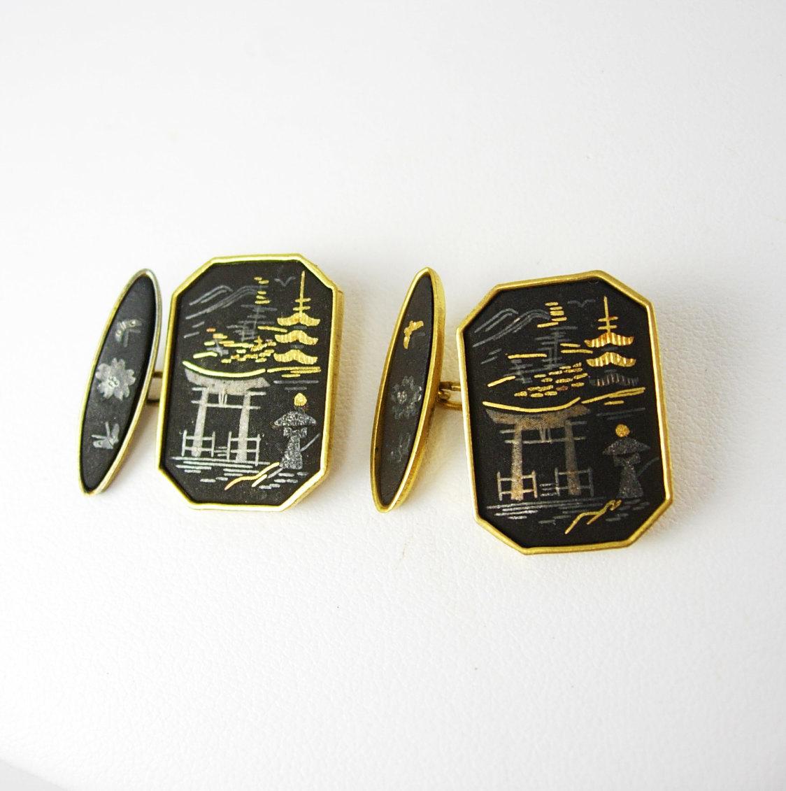 Amita Japan Damascene Cufflinks Vintage Pagoda Gold Filled Asian Oriental - $95.00