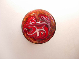 Vintage Abstract Copper Enamel Brooch Red White Round Art - $15.00