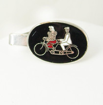 Vintage Bicycle Built ForTwo Tie Clip Red White Black Enamel Man Woman H... - $30.00
