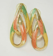 Vintage Pink Drop Earrings Pierced Enamel Gray Cream Green Wedding Birthday - €8,22 EUR