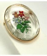 Vintage Hand Painted Brooch Reverse Memento Flower Cut Glass Wedding Bus... - £27.66 GBP