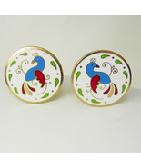 Pennsylvania Dutch Folk Art Cufflinks Vintage Hex Signs White Blue Red G... - $75.00