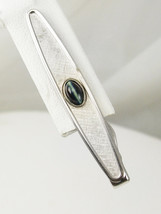 Swank Tie clip Vintage Banded White Black Agate Cats Eye Business - $20.00