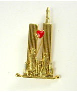 Vintage Twin Towers Brooch Red Enamel Heart Mothers Day Birthday - $15.00