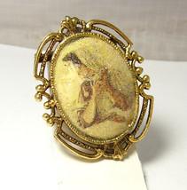 Vintage Portrait Cameo Brooch Sugar Stone Mothers Day Birthday Anniversary - $40.00