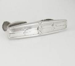 Vintage Silvertone Art Deco Tie Clip Small Birthday Business Wedding Signed Hick - $35.00