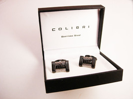 Initial TDM Vintage Cufflinks Enamel Wire Cable Steampunk Colibri Stainl... - $45.00