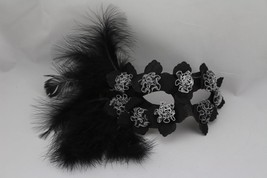 Venetian Hallowmas Masquerade Mask with High Fashion Macrame Lace & feather mk54 - $29.99