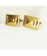 Vintage Cufflinks Abstract Gold Filled pierced design - $35.00