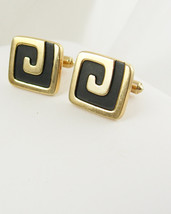 Hickok USA Letter J Cufflinks Abstract Vintage Gold Filled Enamel Signet... - $70.00