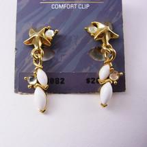 Trifari Starfish Rhinestone Earrings Clip On Dangle Drop Original Board ... - $30.00