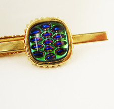 Peacock Glass Vintage Tie Clip Large Bubble Glass Poured Glass Gold Filled Anniv - $125.00