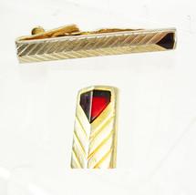 Vintage Red deco Goldtone Tie Clip Birthday Wedding Business Signed Swank - $25.00