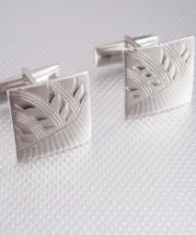 Diamond Cut Designed Cufflinks Vintage Silvertone Engravable Etched Pat ... - $55.00