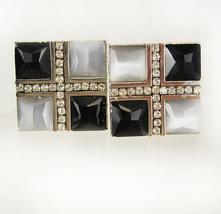 Vintage Jeweled Rhinestone Huge Cufflinks Disco Black Gray Birthday Wedding - $85.00