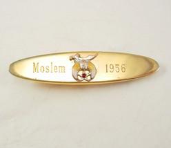 Vintage Shriners Engraved Garnet Tie Clip Moslem 1956 Masons Birthday Business S - $75.00