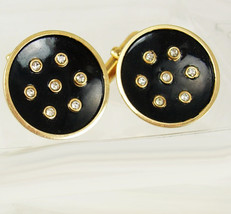 Vintage Faux Diamond Black Cufflinks Goldtone Concave Enamel Birthday Wedding Tu - $65.00