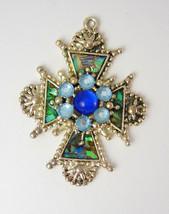 Vintage Rhinestone Abalone Cross Pendant Gothic Etruscan Birthday Anniversary We - $85.00