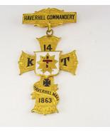 1863 Masonic Demolay jewel Cross Badge Pin Haverhill Mass  Commandery 14 - $225.00