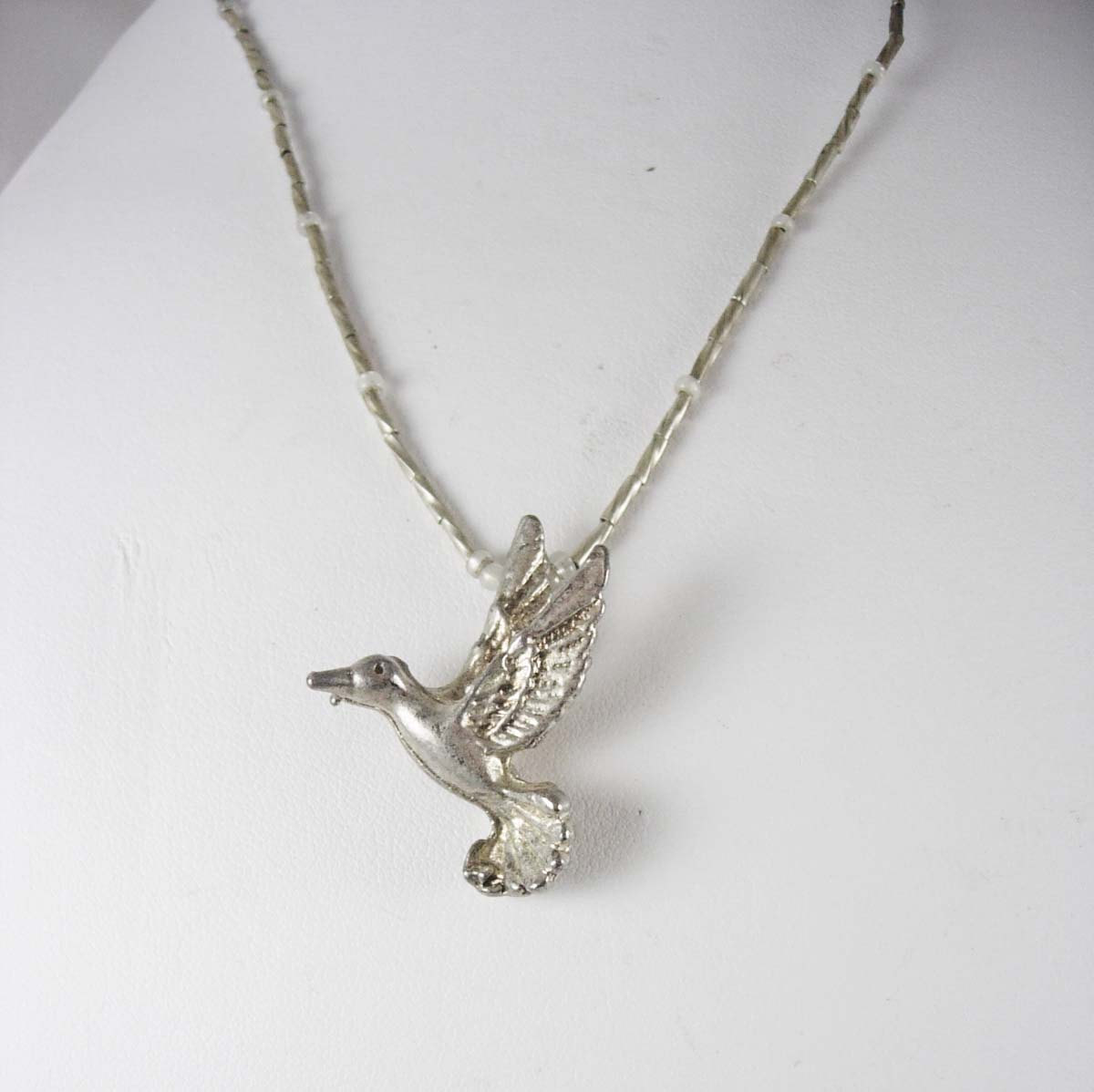 Primary image for Bird Duck Pendant Vintage Necklace Charm 16 inch Sterling silver Tube Chain and