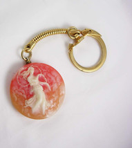 Goddess Faux Cameo Keychain Vintage Key Ring Carved 3D Figural Keepsake - $30.00