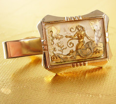 Mermaid Bubble Glass Tie Clip Vintage Reversed Painted Gold Filled Sea g... - $85.00