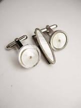 Art Deco Vintage MOP Cufflinks Bonus MOP Oval Tie Clip Business Wedding ... - $50.00