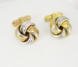 Heavy Vintage Swank Cufflinks Love Knot Two Tone Gold Silver Birthday We... - $35.00