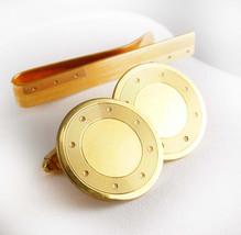 H.J. Howe Jewelers Cufflink Set Vintage Tie Clip 1/20 12kt Gold Wells Ne... - $125.00