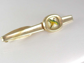 Reverse Painted Tropical Bird Tie Clip Vintage Paradise Rain Forest Hickok desig - $25.00