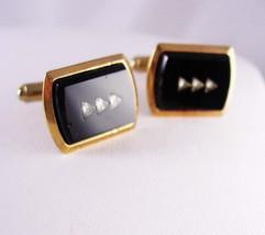 Diamond cut Rhinestone Cufflinks Vintage Black Glass Wedding Black Tie A... - $55.00
