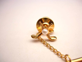 Vintage Golf Clubs Tie Tac Lapel Pin Faux Seed Pearl Woods Wedding Busin... - $20.00