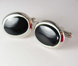 Classy Black Onyx Cufflinks Vintage Wedding Tux Tuxedo Heirloom Estate Swank Des - $80.00