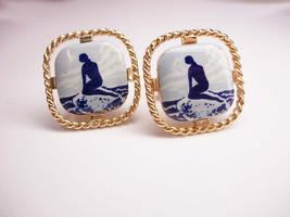 Vintage Nude Mermaid Cufflinks Delft Tile Scandinavian  Bizarre history - $65.00