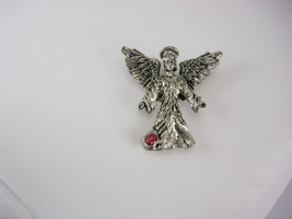 Pewter Angel Pendant Vintage with Birthstone Birthday - $25.00