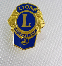 Vintage Gold Filled Lions International Tie Tack Lapel Pin Blue Enamel B... - $50.00