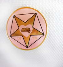 Five Point Star Heart Book Lapel Pin Pin Back Vintage Gold Filled Pink B... - $35.00