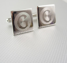 Initial G Cufflinks Vintage silver Monogram Initial Signet Grooved Circu... - $40.00