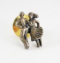 Retro tie tac  pin 40's Dancing Couple Vintage pinback  courtship - $35.00