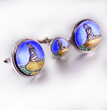 Vintage Mermaid Cufflinks enamel set tie tac Swank Fairy tale Mythical s... - $165.00