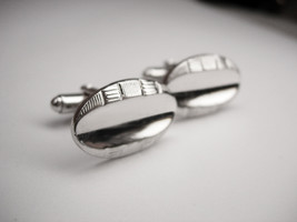 Vintage Modern  Cufflinks Oval Initial Signed Shields  businessman wedding anniv - $10.00